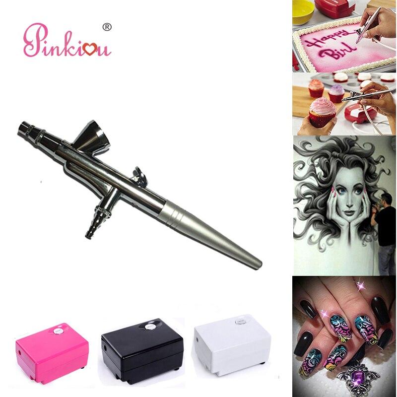 Pinkiou 0.4mm aérographe compresseur Kit pour fond de teint maquillage aérografo cosmétiques pour visage Spay stylo pour ongles Art gâteau coloriage