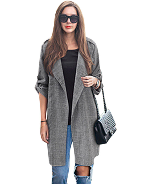 Clearance Fashion Female Long Trench Autumn Slim Solid Cardigan Linen Coats Elegant Outwear Casual plus size XL QZ814