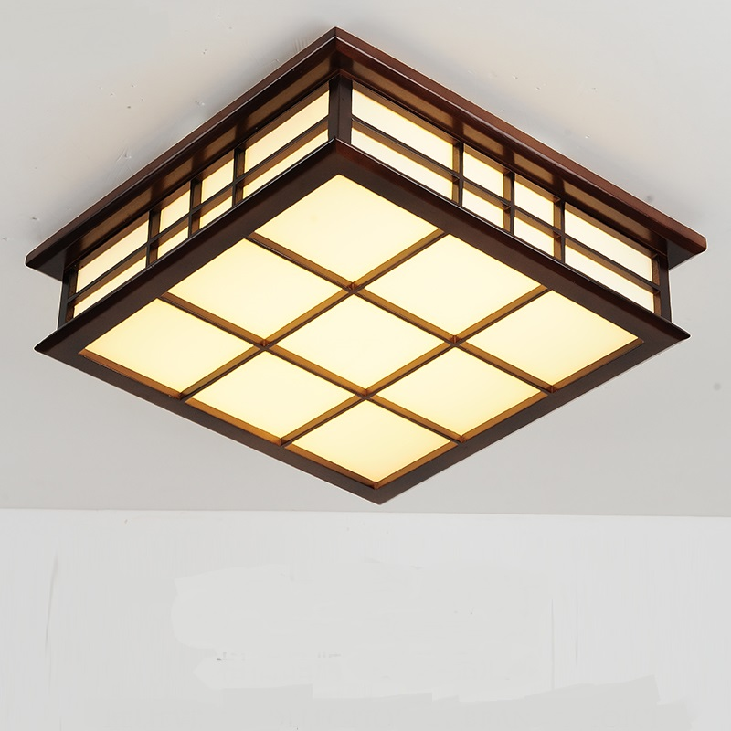 Solid Wooden LED Ceiling Lights Square Wooden Simple Living Room Bedroom Study Loft Garden Home lighting ceiling lamps ZA MZ7