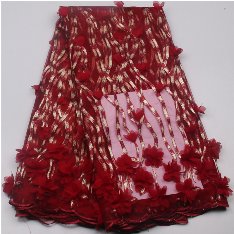 Red Flower Fabric Tulle Lace Latest 3D African Lace 2017 Bridal Nigerian African Net Lace Embroidery
