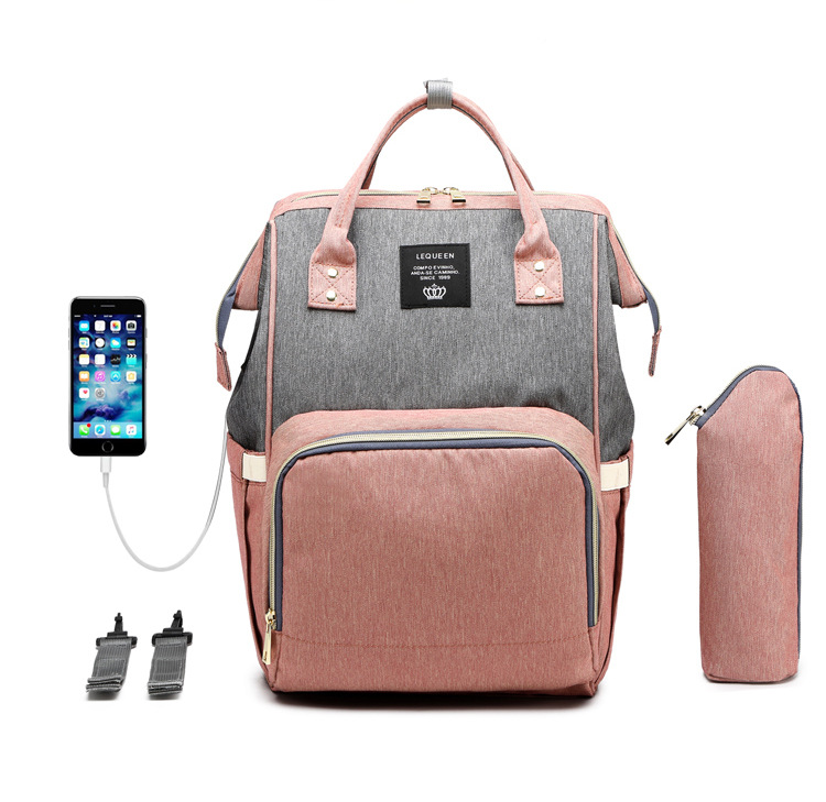 USB Diaper Bags Large Nappy Bag Upgrade Fashion Travel Backpack Waterproof Maternity Mummy Bags With  Hook And Bottle Bag