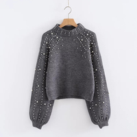 Ky Q New Gray Women Sweaters Pullovers Winter Long Lantern Sleeve Pearl Decoration Short Sweaters Female