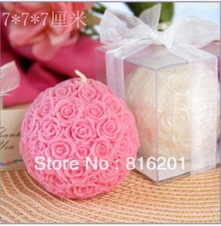 Mini Rose Ball Candle Favor (Set of 4) for Wedding Party Stuff Gifts Supplies Wholesale Retail Free Shipping Hot Sale
