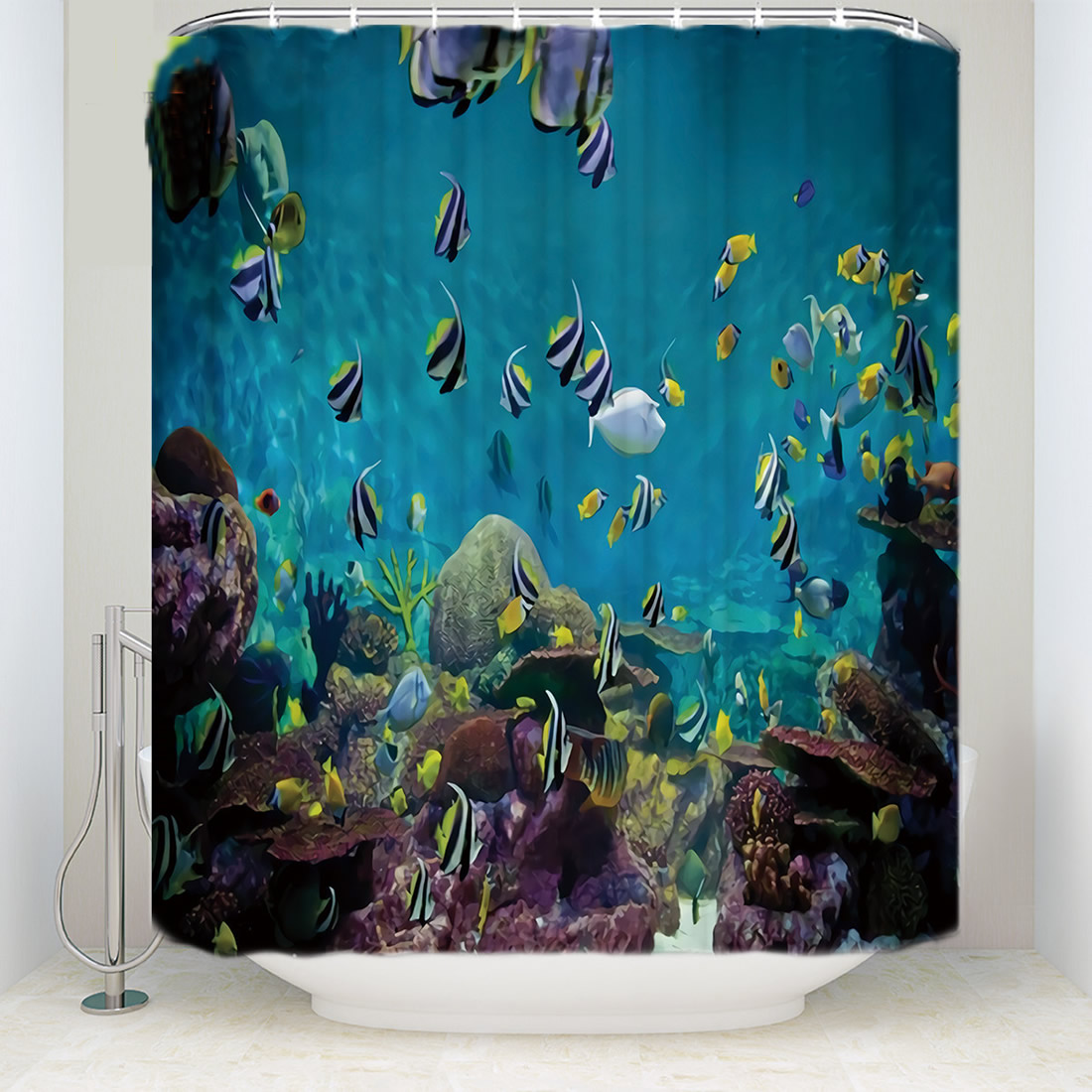 Beautiful Underwater World Fish Polyester Shower Curtains Washable High Quality Colorful Curtains for Bathroom Shower Home Decor in Shower Curtains from Home Garden