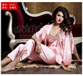 Silk Women Robe Sets Three Quarter Sleeve Lace Embroidery Nightgowns Solid V-Neck Bathrobes Twinset Nightdress