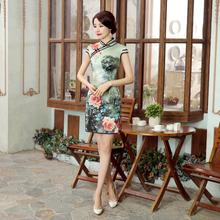 High Quality Chinese Style Women Evening Party Dress Summer Vintage Satin Qipao Cheongsam Print Flower Size S M L XL XXL LGD36