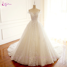 Waulizane Elegant Scalloped Neckline Cap Sleeve Wedding Dresses Transparent  Floor-Length Custom Made Bride dress