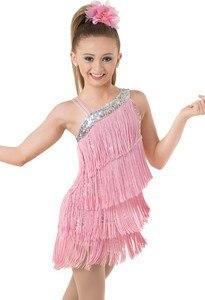 Image 2 - เด็กเด็ก Professional ชุดเต้นรำละตินสำหรับสาวเต้นรำชุดเด็กสีม่วงเลื่อม Fringe Salsa พู่