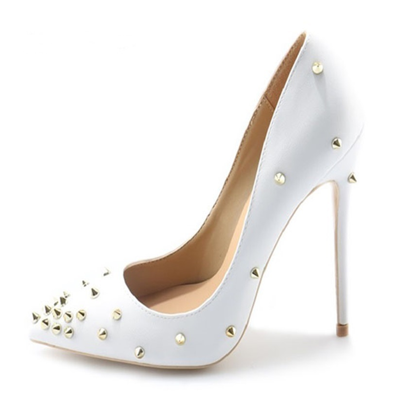 10dbb6e5a2 Zapatos Señoras Remache Mujeres Decoración Vestido En Blanco as As Tacones  Bombas Altos Boda Nuevo Sexy ...