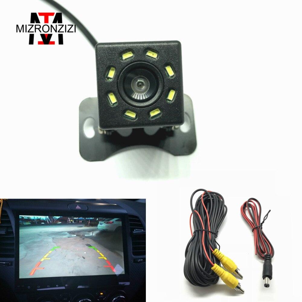 MIZRONZIZI Universal Car Rear View Camera 8 LED Night Vision Auto Parking Monitor Assistance Camera Waterproof HD Color Image