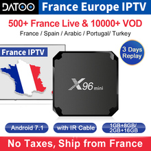 купить IPTV France X96 Mini Tv Box Android 7.1 S905W French IPTV Subscription Arabic Italy Portugal Spain Turkey IP TV X96mini IPTV Box по цене 3564.45 рублей