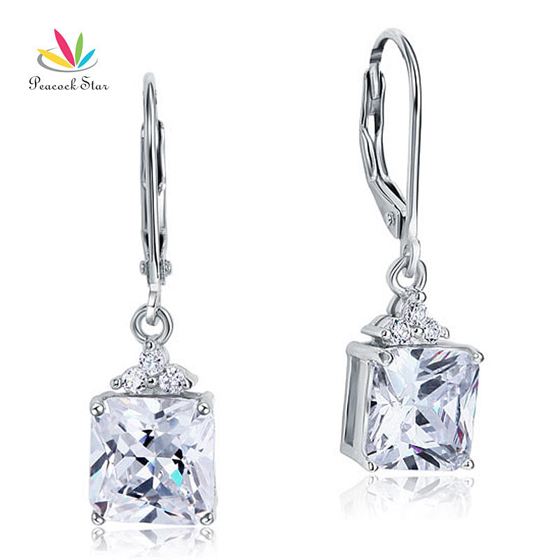 Peacock Star Solid 925 Sterling Silver Dangle Drop Earrings Bridal Wedding Bridesmaid Jewelry CFE8094