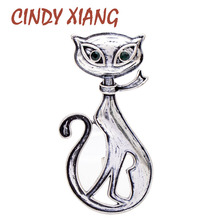 CINDY XIANG new arrival 2 colors choose enamel black cat brooches for women and men unisex animal pin green eye kitty gift