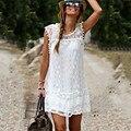 Summer dress 2017 mujeres atractivas sin mangas ocasional de la playa vestidos cortos borla sólido blanco mini lace dress vestidos más el tamaño 5xl