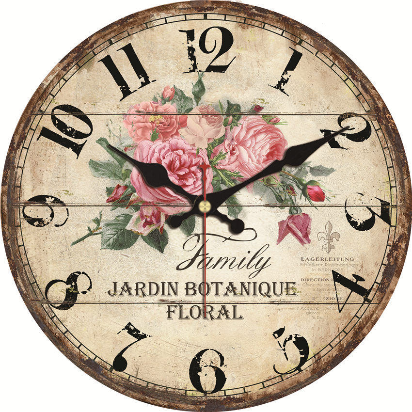Shabby Chic,Flower Wall Clocks,Vintage Wall Clock,Wall Watches Home Decor,Rose Wall Clock Big