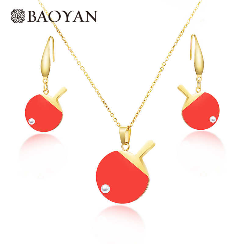 Baoyan Gold Silver Color Unique Table Tennis Paddle Pendant Pearl Necklace Set Stainless Steel for Women for Girls Best Gift