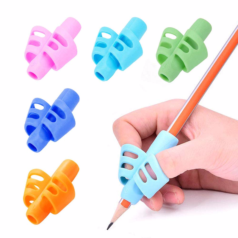 5 Pcs Two-finger Silicone Pen Grips Five Colors Mixing Student Stationery Writing Posture Corrector Pencil Cover Love Writing