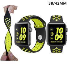 Deporte banda de silicona suave para apple watch series 2 reemplazo correa para apple iwatch nike sport band relojes de marca de lujo correa