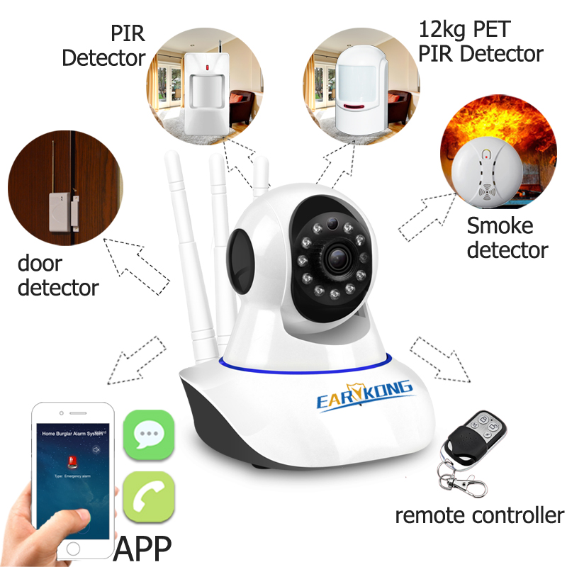 Image 2 - NEW IP Camera Wifi Wireless Security 720P Alarm Camera Shaking Head Support Android IOS APP 2 years Warranty For PG103 W2B Alarm-in Alarm System Kits from Security & Protection