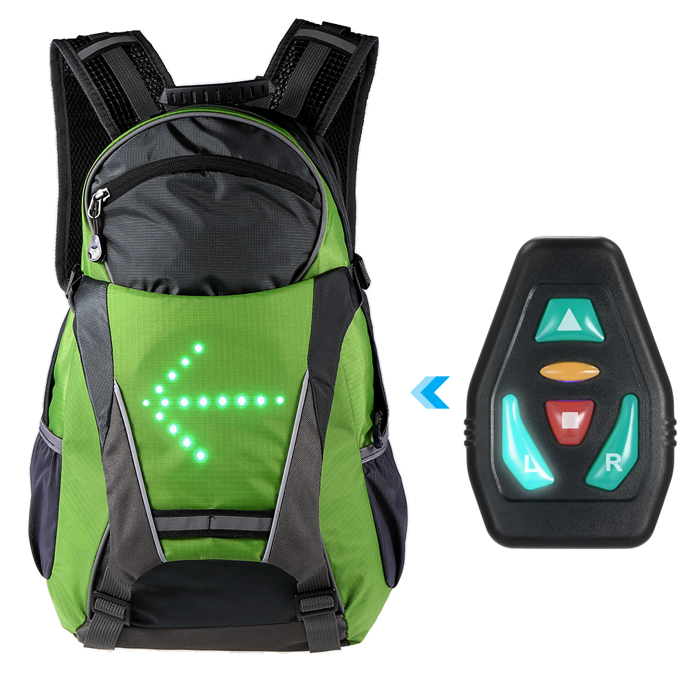 Lixada 18L Cycling Bags Bicycle Backpack LED Turn Signal Light Reflective Bag Pack Outdoor Safety Night