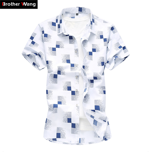 d1e5d560c 2019 summer new men's casual plaid shirt Fashion print Hawaii short-sleeved  shirt male Brand clothes Plus Size 5XL 6XL 7XL