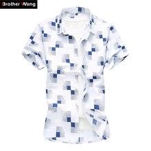 2020 summer new men's casual plaid shirt Fashion print Hawaii short-sleeved shirt male