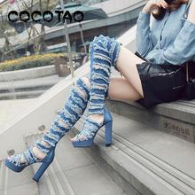 European 2019 Summer New Europe And The United States Big Yards Hot Style High Heel Cool Denim Womens Boots Knee-high Boots60