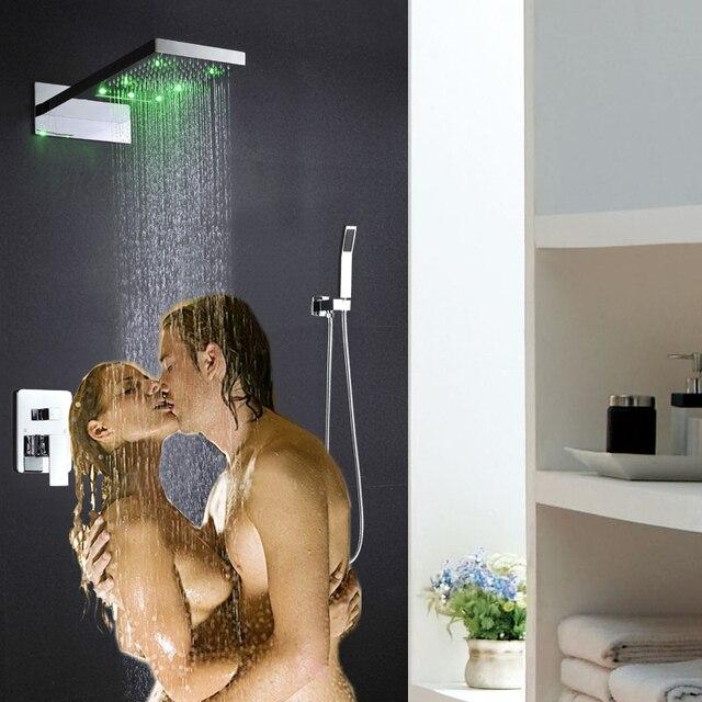 led shower mixers 230x554x30mm wall mounted rainfall waterfall ...