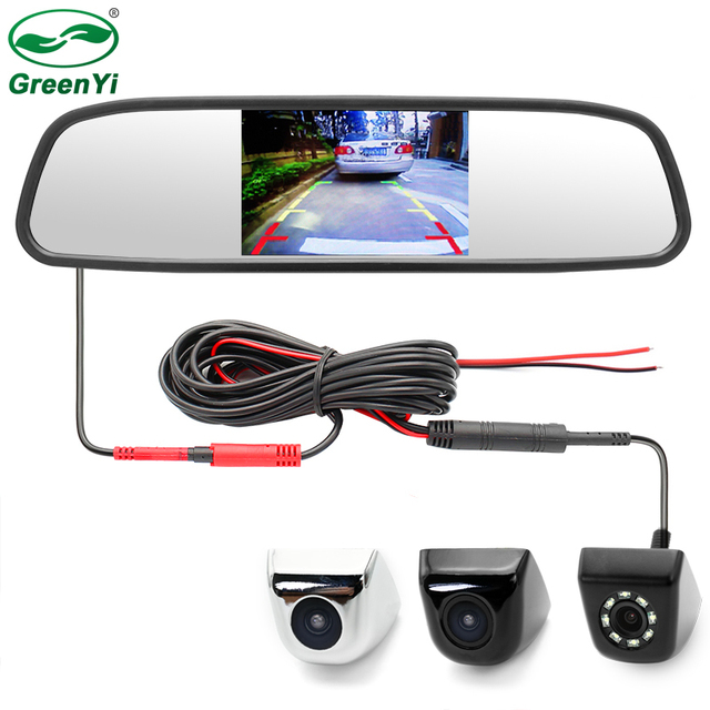 Monitor de espejo de coche HD 4,3 pulgadas a prueba de agua con vista trasera de vehículo cámara de respaldo inverso 2in1 sistema de aparcamiento CCTV + 6 M Cable de vídeo