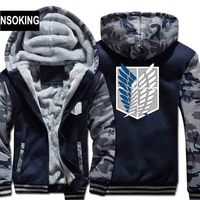 2015 New Winter Warm Attack On Titan Hoodies Anime Hooded Coat Thick Zipper Men Casual Cardigan