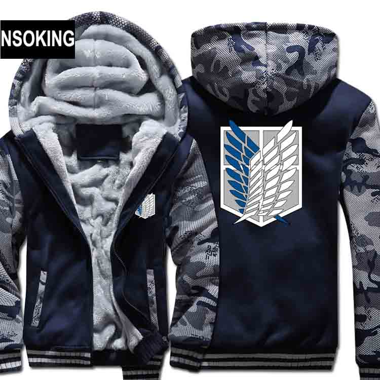 H0020 New Winter Warm Attack on Titan Hoodies Anime Hooded Coat Thick Zipper men casual cardigan Jacket Sweatshirt