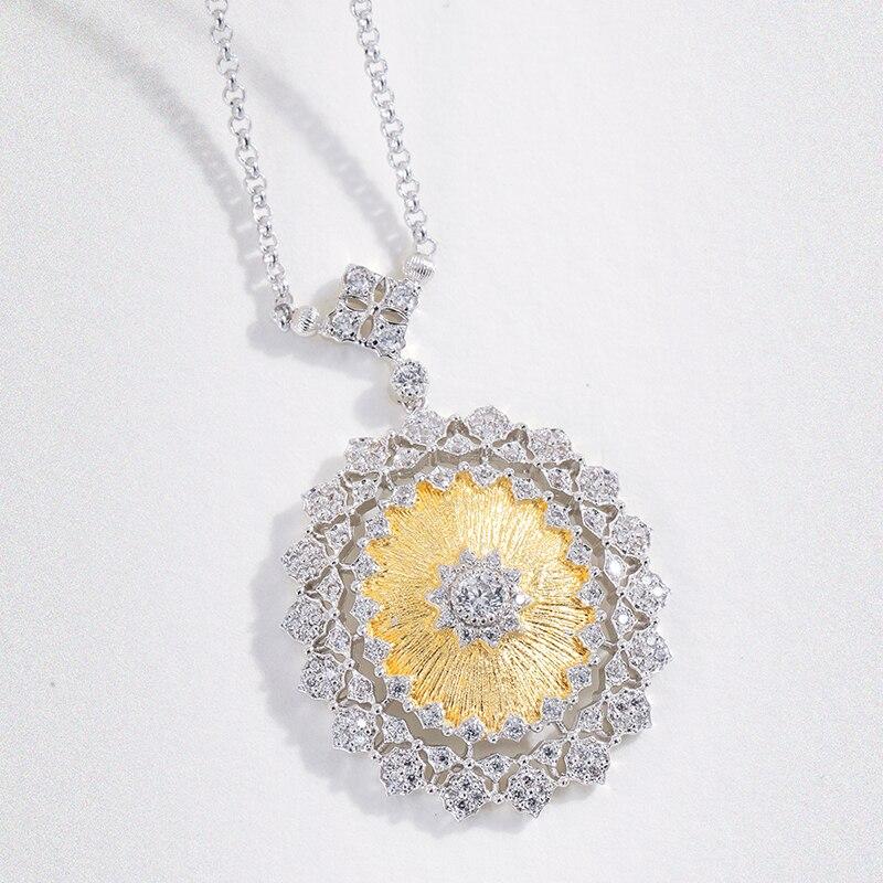 925 argent Sterling zircon collier argent 925 bijoux pour femmes Style cour européenne style vintage
