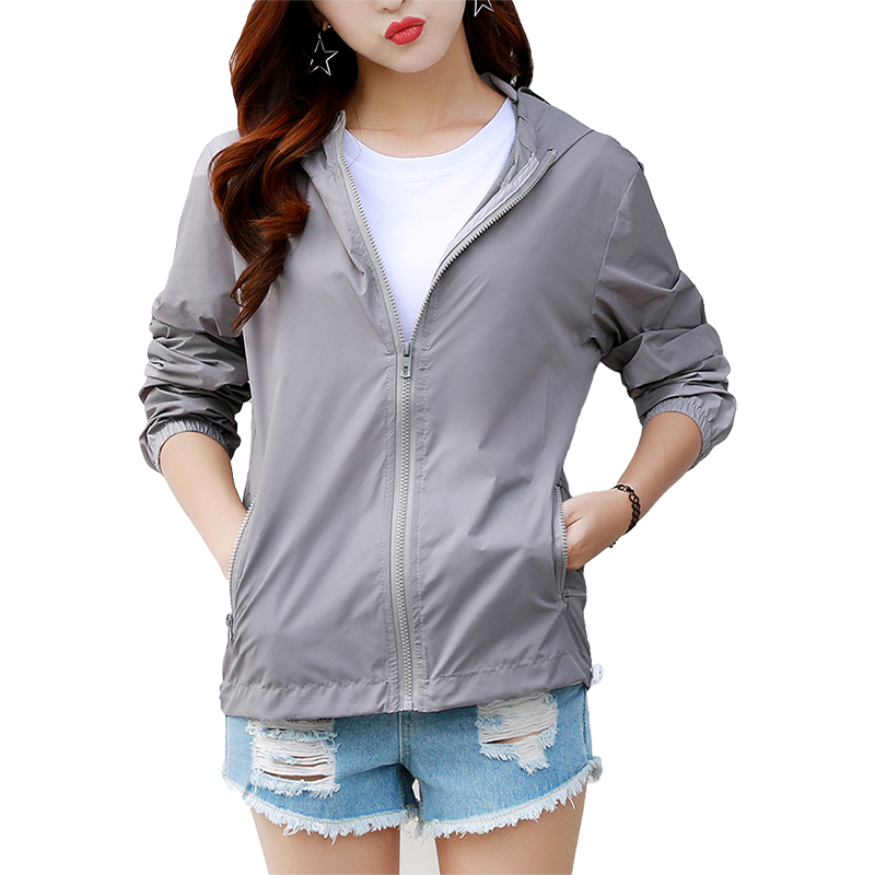 Women's Hooded   Jackets   2019 Summer Causal Fashion Women   Basic     Jackets   Coats windbreaker Zipper Lightweight   Jackets   Bomber Famale