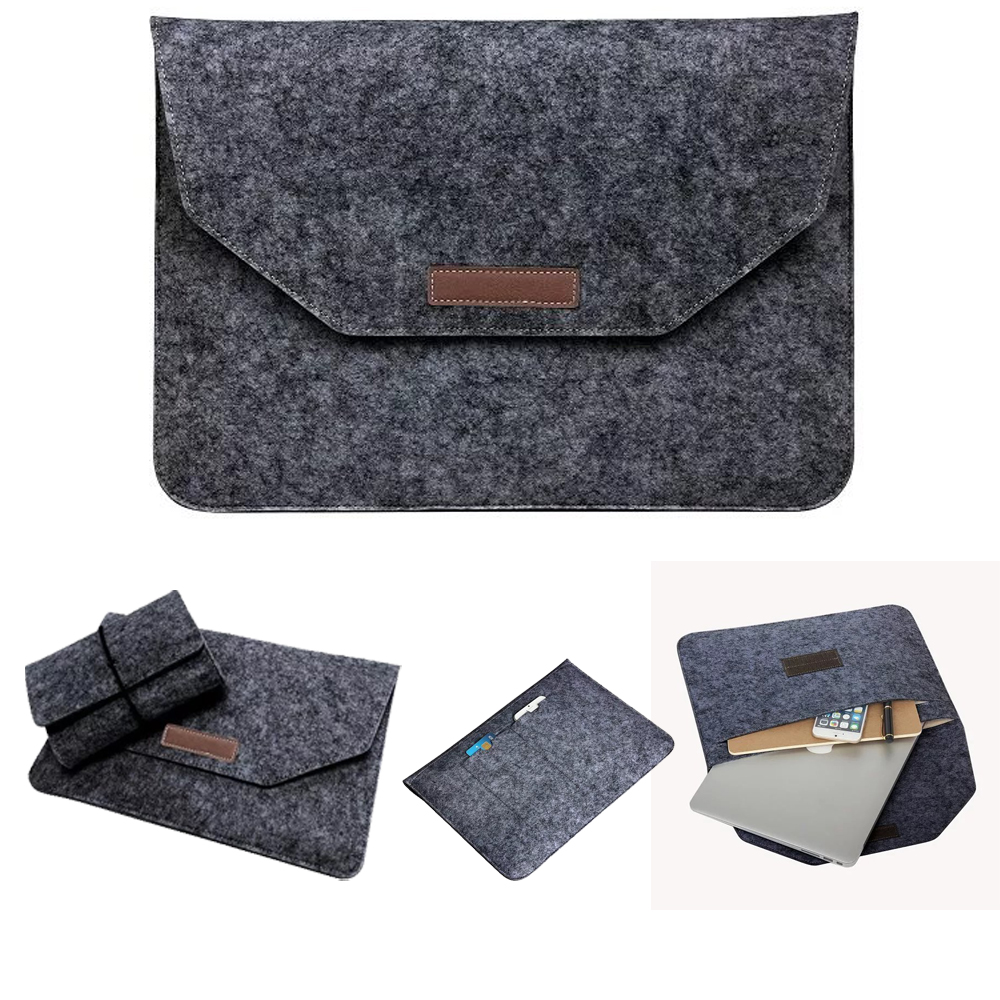 Luxury Wool Felt Notebook Adapter Power Bag For Macbook Pro Retina 13 15 Laptop Sleeve Handle
