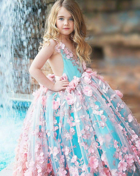 Real Photos Pink Flowers Appliqued Sleeveless Flower Girl Dresses Floor Length Ball Gown Kids Pageant Dress fashionable sleeveless sequins embellish multilayered flower spliced mini ball gown dress for girl