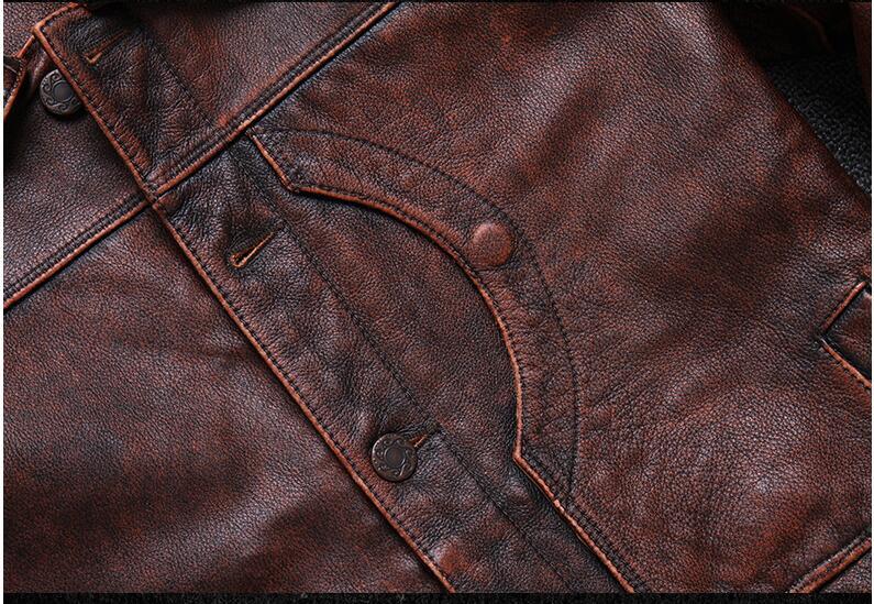HTB1KSAAPcfpK1RjSZFOq6y6nFXaZ 2019 Vintage Brown Men Smart Casual Leather Jacket Single Breasted Plus Size XXXL Genuine Cowhide Russian Coat FREE SHIPPING