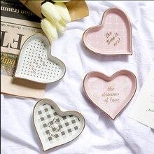 """Супер милая керамическая в форме сердца блюдо, подносы для ювелирных изделий Сладкая розовая декоративная чаша """"любовь"""" для свадебного душа Свадебные Вечерние"""
