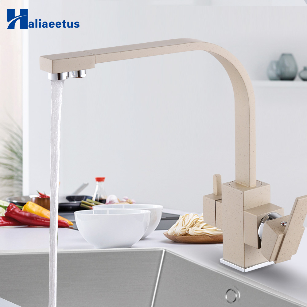 New Style Beige Kitchen Water Purifica Faucet With Filtered Water Right Angle Double Spout Kitchen Tap Bronze Sink Mixer Crane