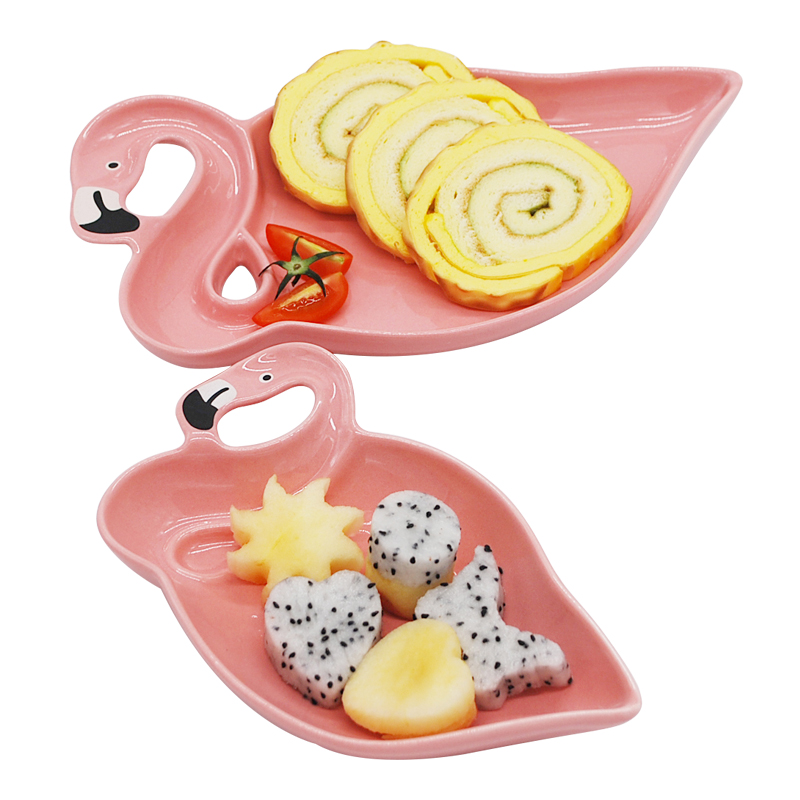 1 pcs Flamingo Décoration Rose 3D En Céramique Plaque Collations Secs Assiettes De Fruits Fruits Bol Dessert Plats Porcelaine De Vaisselle