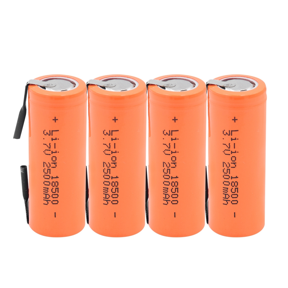 The New 3.7V 2500mAh 18500 Lithium Battery With 2 Welding Tabs 18500 Li-ion Cell For Led Flashlight Headlight  Mechanical