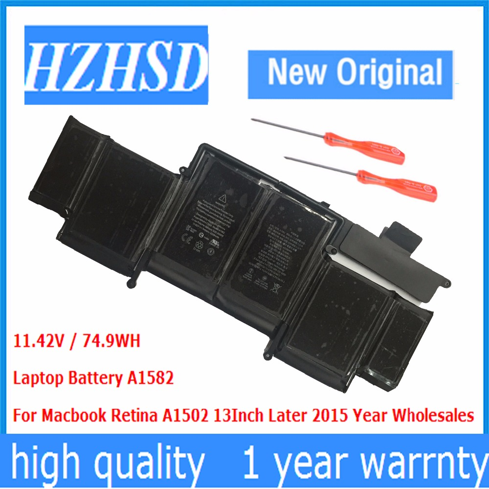 11.42V / 74.9WH New Original A1582 LAPTOP Battery For Macbook Retina A1502 13Inch 2015 year lmdtk new laptop battery for apple macbook pro retina13 inch a1502 2013 2014 year a1493