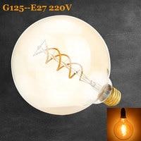 Vintage Spiral Lamp G125 Dimmable 4W 2200K Soft Flexible Filament LED Bulb For Bar Home Decorate 220V - 240V Lamps