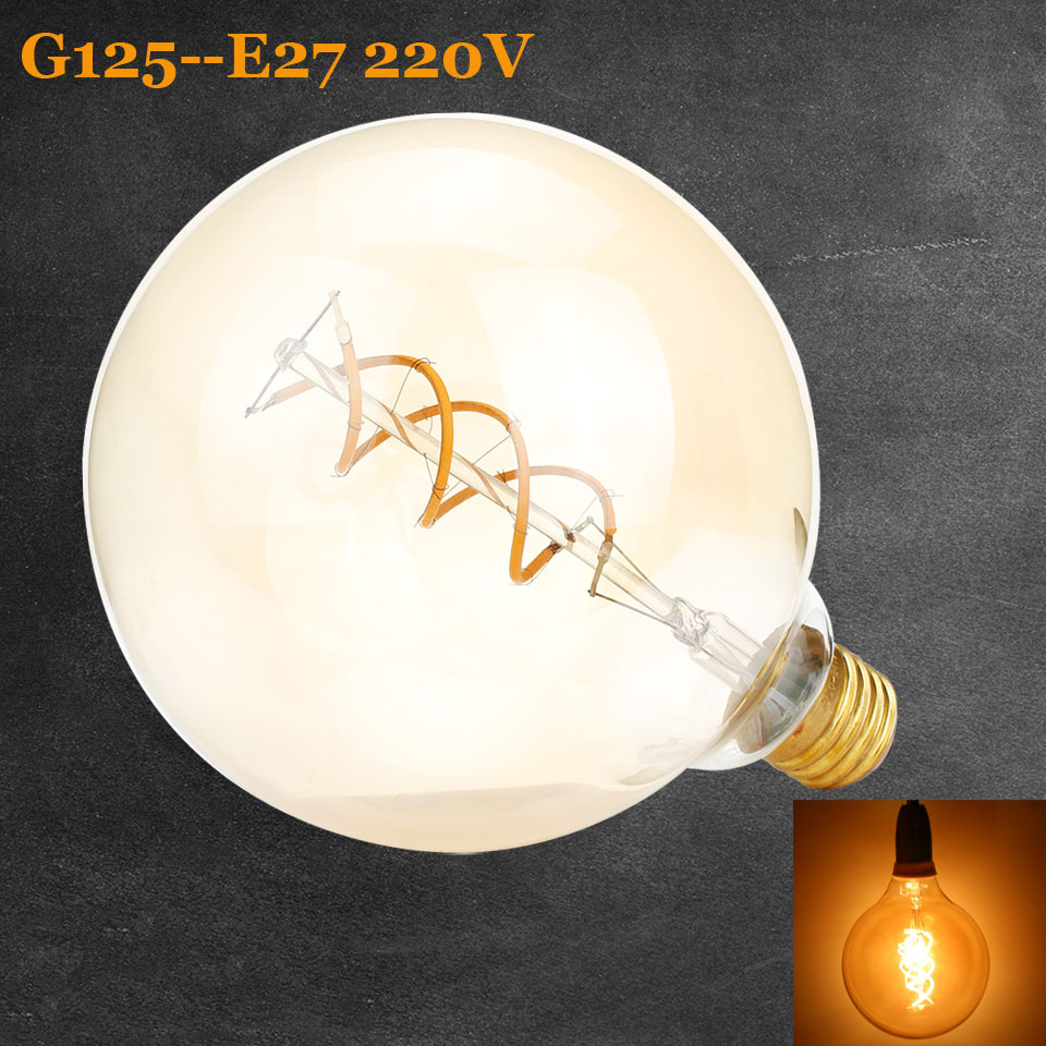 Vintage Spiral Lamp G125 Dimmable 4W 2200K Soft Flexible Filament LED Bulb For Bar Home Decorate 220V - 240V Lamps free shipping globle g125 amber glass led 4w spiral filament lamp for vintage edison fixture e27 220v lighting bulb