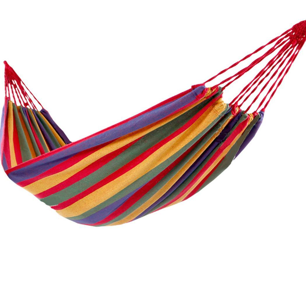 Outdoor Camping Swing Hammocks Patchwork Striped Canvas 150kg Load Capacity Indoor Simple Hammock Bed Portable Hanging Beds(China)