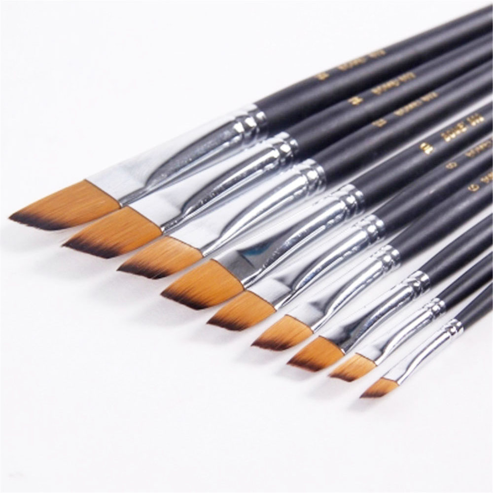 9Pcs Acrylic Oil Paint Brush Artists Nylon Hair Angle Shader Tip Watercolor Paintbrush For Drawing Painting Art Supplies pegasus tianm genuine original 3 5 inch lcd screen tm035kvhg01