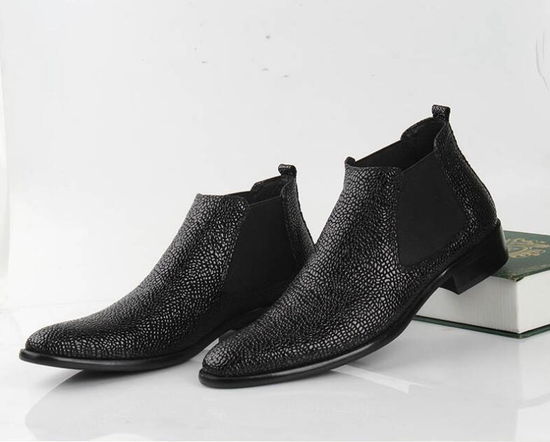 Robe Élastique Cuir Slip Bottes Hommes Pointés Cheville Véritable Casual Med High Top On Orteils Talon De Black Bande Noir Chaussures OPkwuTZiX