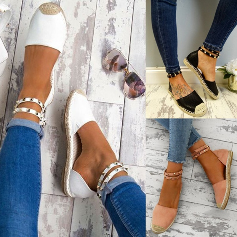 Female Sandals Shoes Ankle-Strap Women Footwear Closed-Toe Flat Breathable Fashion Summer