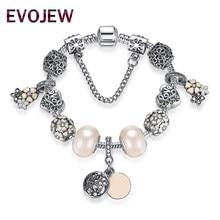 89fafe31519e EVOJEW plata antigua Color Margarita pulsera de perlas para las mujeres  joyería Original serpiente cadena pulseras y brazaletes .