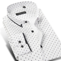 100% Cotton Brand Men Polka Dot Casual Shirt Long Sleeve Formal Business Slim Fit Male Dress Shirts Plus Size 4XL Autumn Style