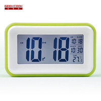One Touch LCD Smart Lights Love Colorful Quartet Of Students Creative Small Alarm Clock Luminous